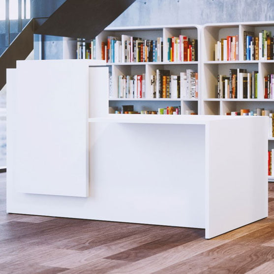 Fifty Fifty Reception Desk in white