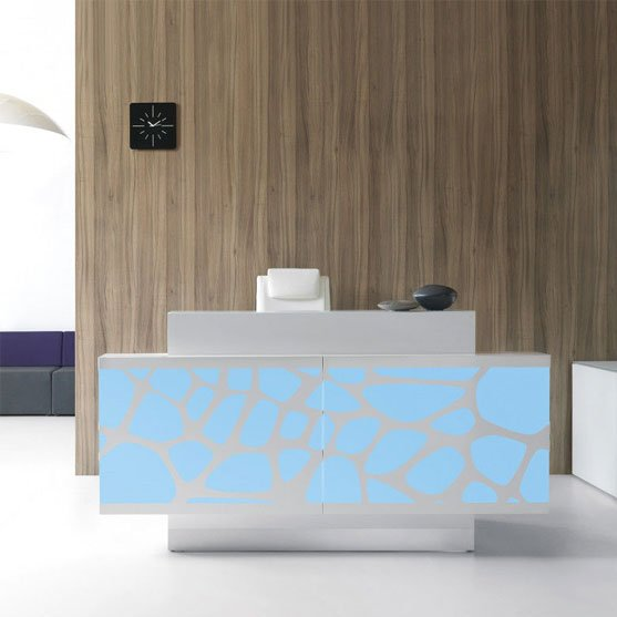 Large and Blue Organic Reception Desk Shown in a modern office