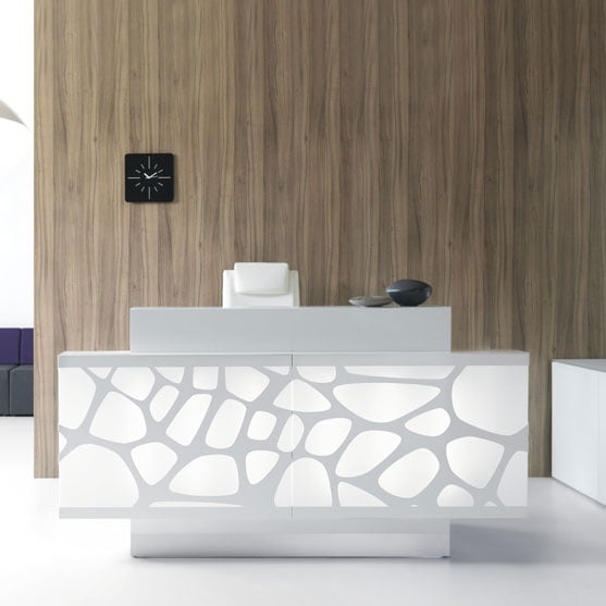 Large and White Organic Reception Desk