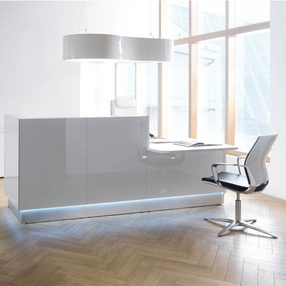 MDD Linea Reception Desk in White