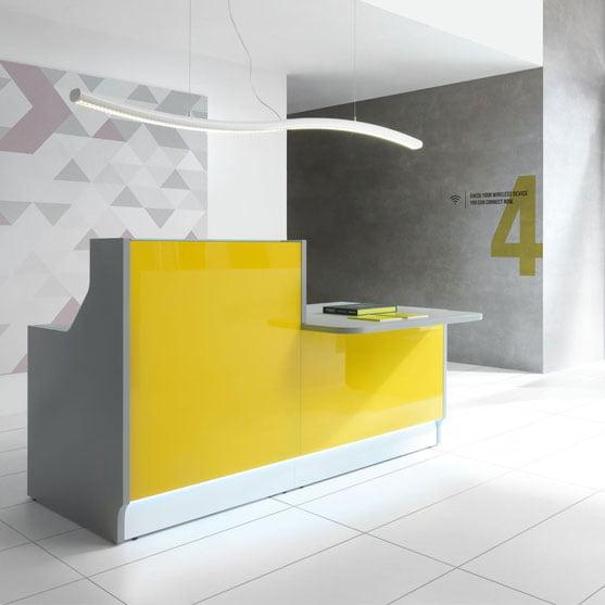 MDD Linea Reception Desk in yellow