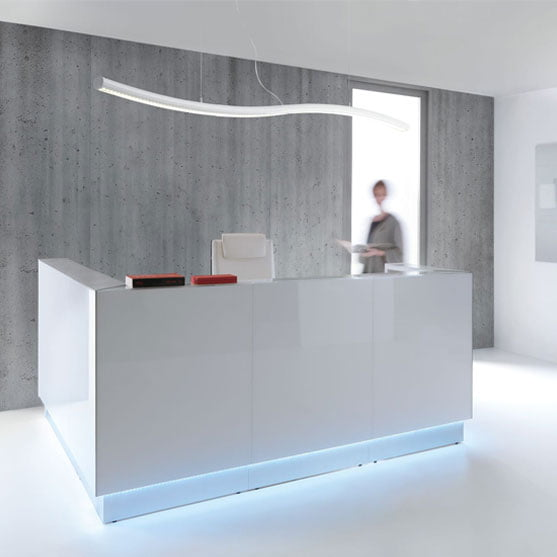 MDD Linea Reception Desk in white showing the Led