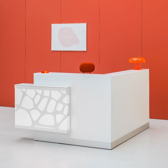 Organic Reception Desk with shown in a bright office