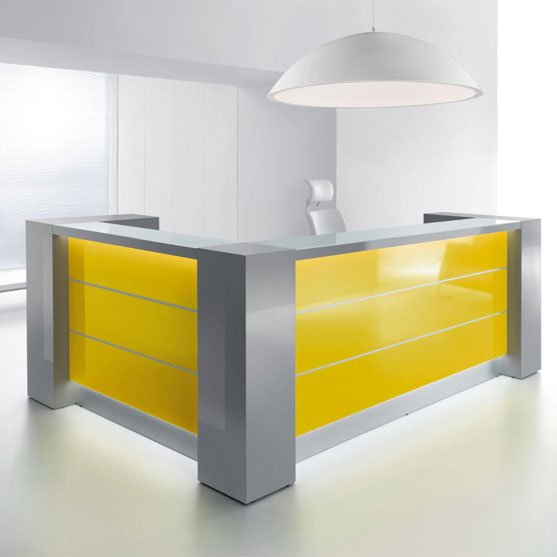 Square and Yellow Valde Reception Desk from MDD