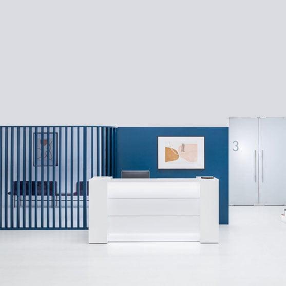 Valde Reception Desk shown Shown in a modern office