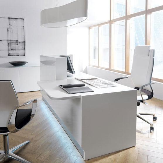 White Linea Reception Desk in a white office