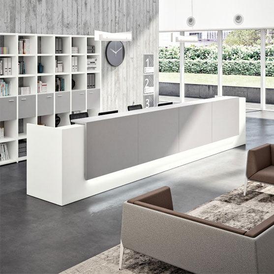 Z2 Reception Desk shown with matching Storage
