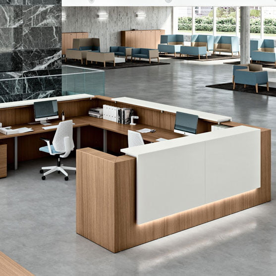Z2 Reception Desk shown from the back