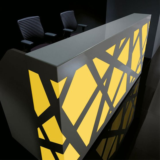 Yellow and Grey LED Reception Desk from BT Office Furniture