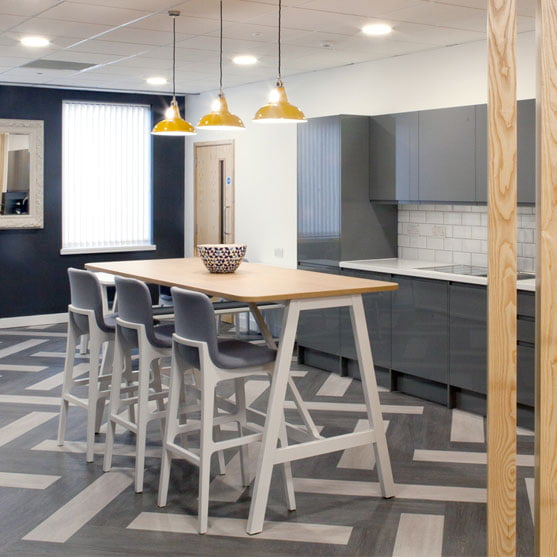 Harmony Bench Table shown in a kitchen area