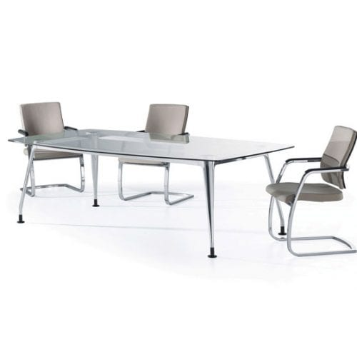 DNA Glass Meeting Table White Background