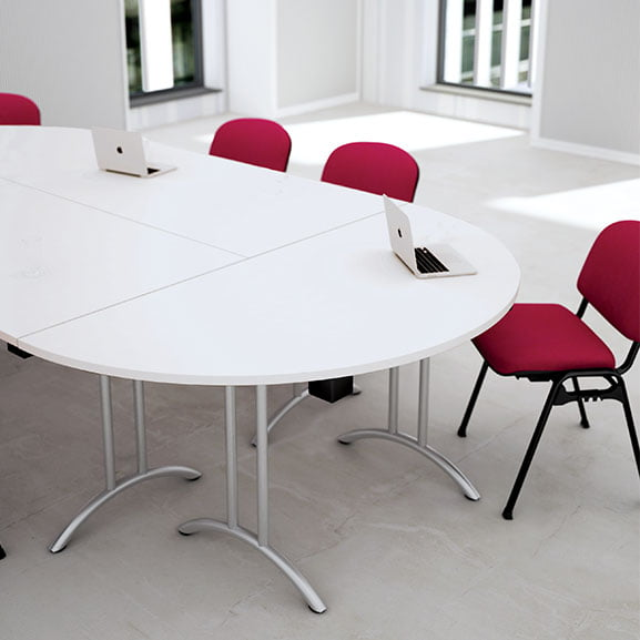 White Telford meeting and foldable table