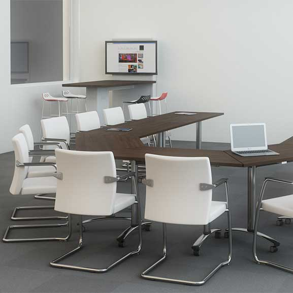 Telford Tilt Top Tables shown in a meeting room