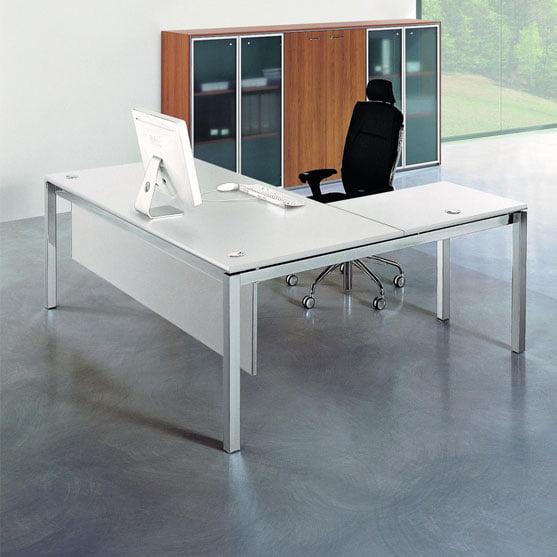 X4 white Glass Desk