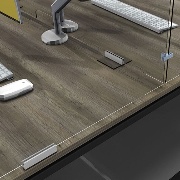 Acrylic desk screen support feet