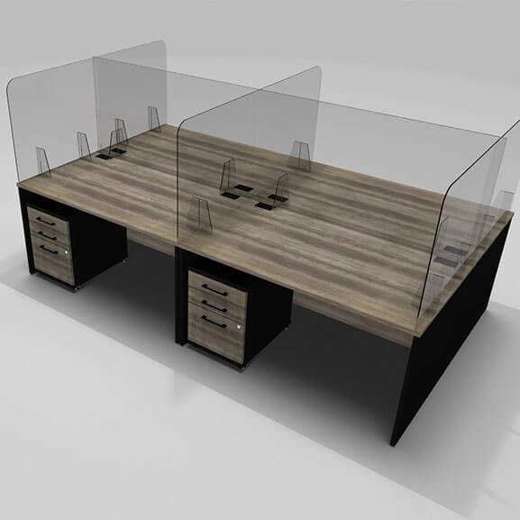Acrylic desk screend with angled acrylic feet
