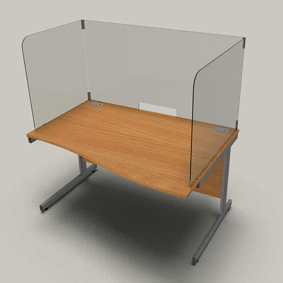 Acrylic desk screens with plastic clips