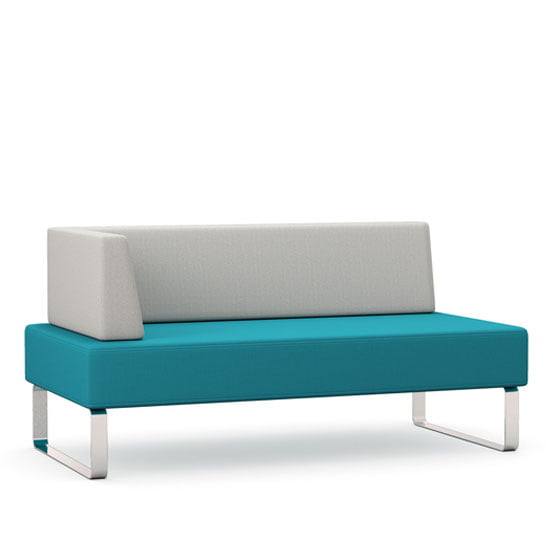 Double bench with full back and right half arm