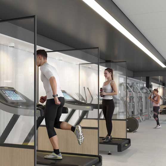 Standing Protective Screens shown on a gym environment