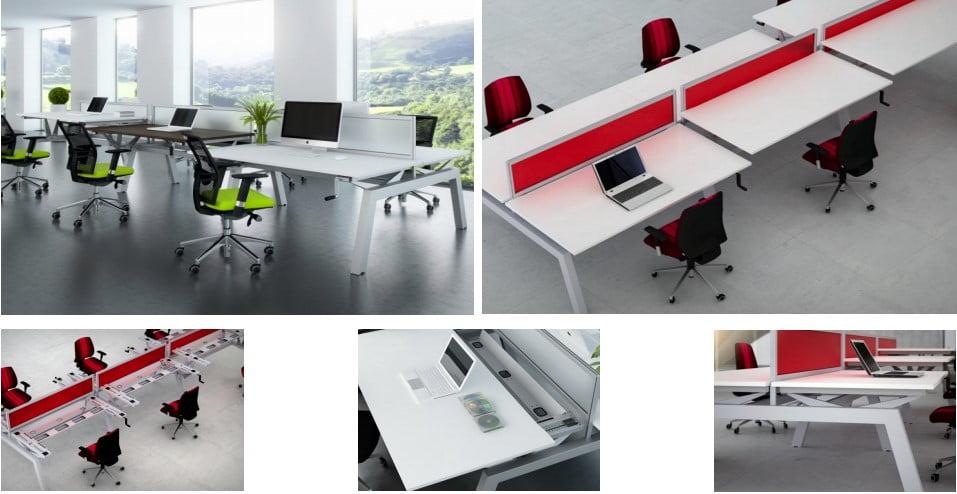 The Elevate bench desk range