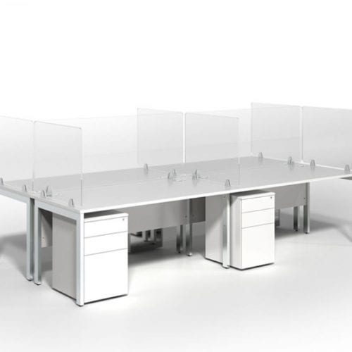 Virus Shield white desks