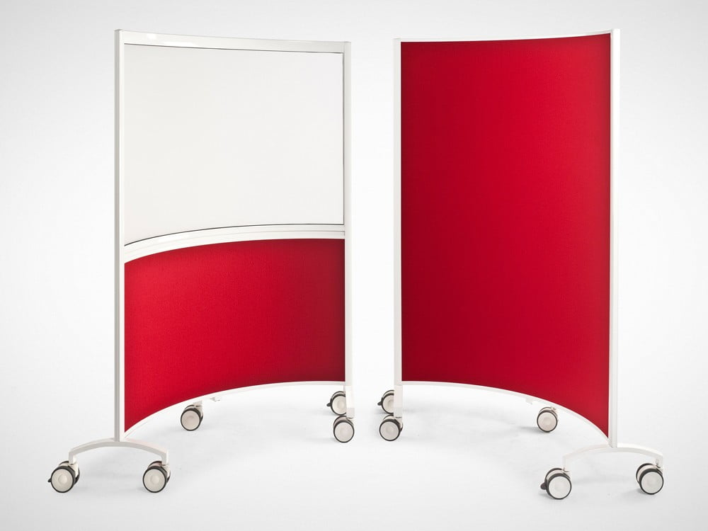 Curved red divider screens for an office