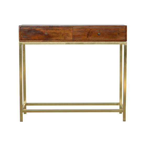 Industrial 2 Drawer Console Table with Iron Base