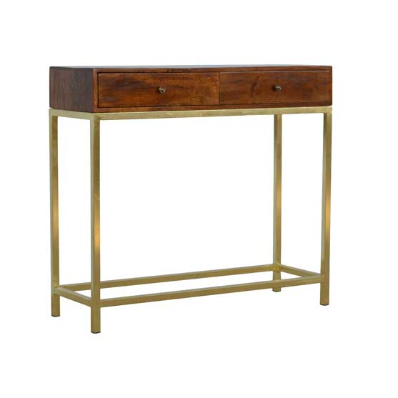 2 Drawer Vintage Console with Iron base by Artisan Furniture