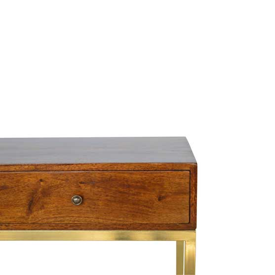 Details of two Drawer Console Table with Iron Base