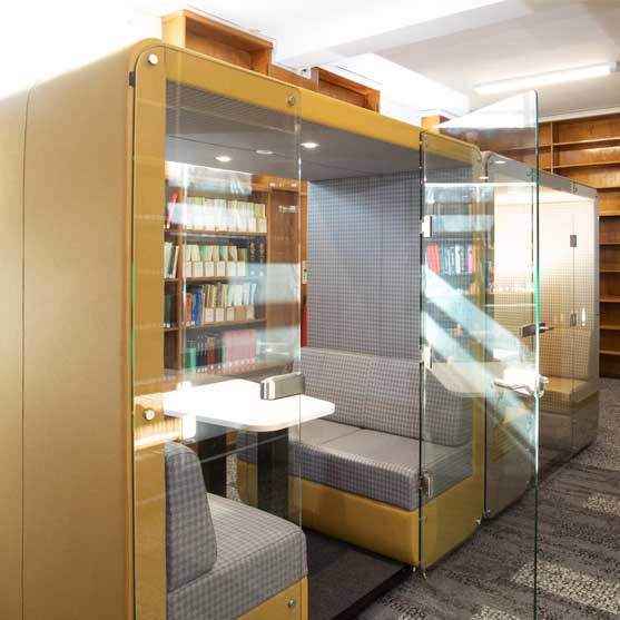 Bob Office Pod Shown in a library