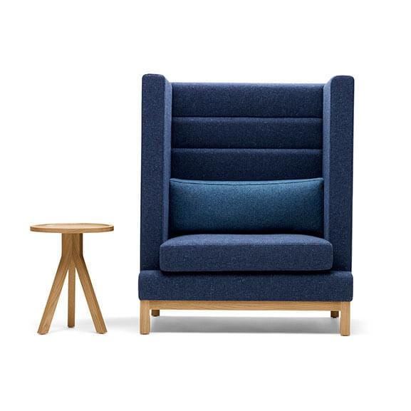Boss Design Arthur high back arm chair bumper cushion oak base matching table