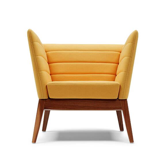 Collisto arm chair upholstered oak frame boss design