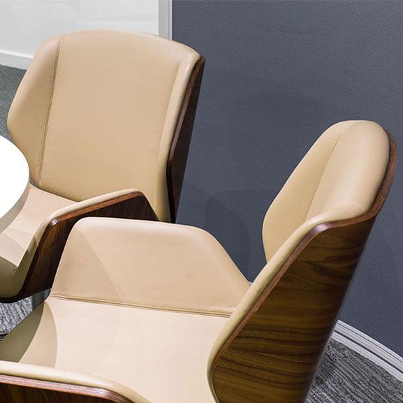 boss design kruze low back dark walnut back leather