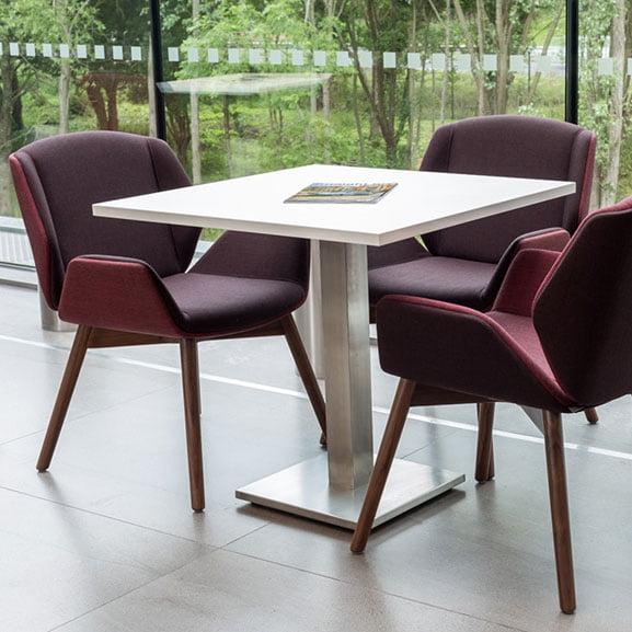 boss design kruze low back 4 leg upholster seat dark walnut back