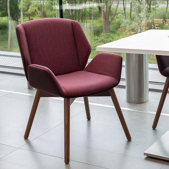 boss design kruze low back dark walnut back upholstered 4 leg