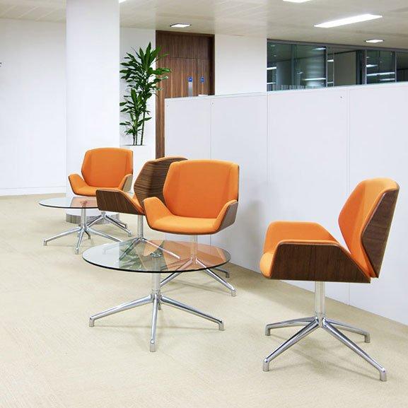 boss design kruze low back dark walnut back upholstered seat