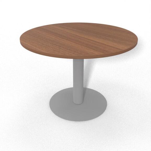 imperial sirius meeting table circular tubular base with walnut top