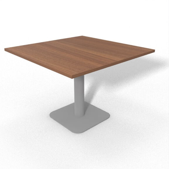 square based meeting table with square walnut top