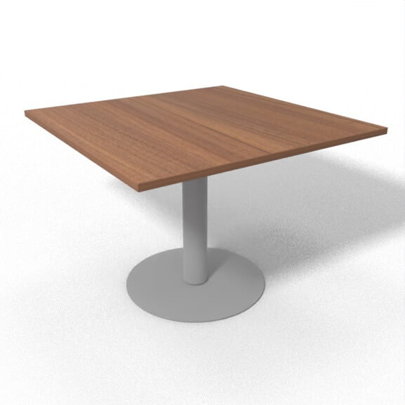 silver tubular base with walnut square top sirius meeting table