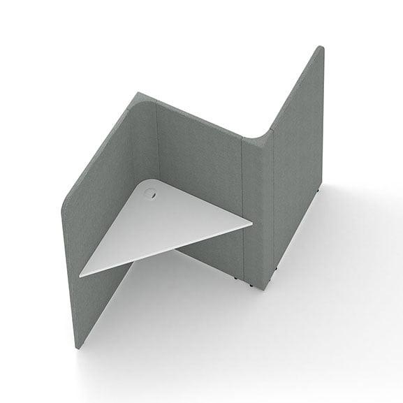 Social spaces soli triangles 2 desks grey screens