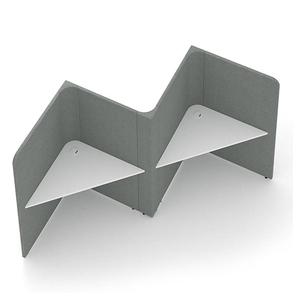 social spaces 3 person soli triangles grey screens