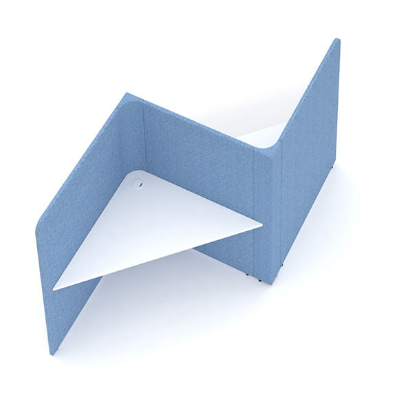 2 person soli triangle booth social spaces blue screens