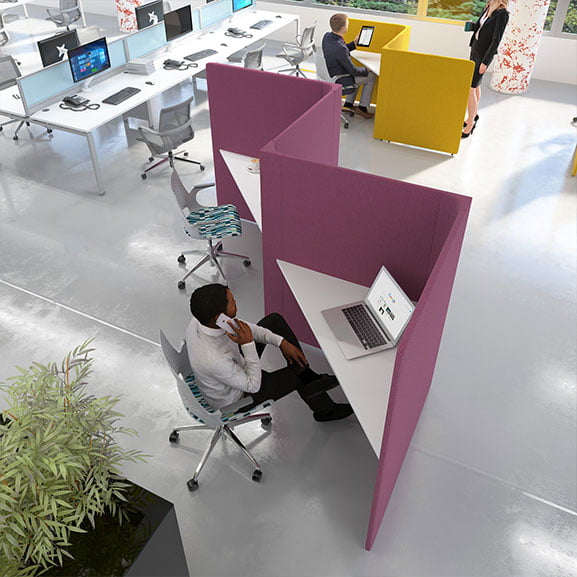 Purple and white social spaces soli triangles booth