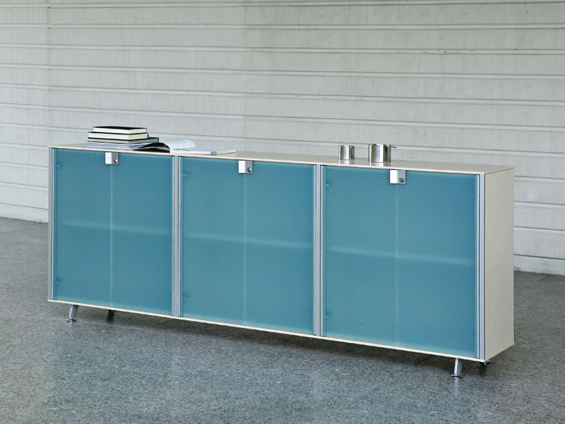Glass fronted boardroom sideboard