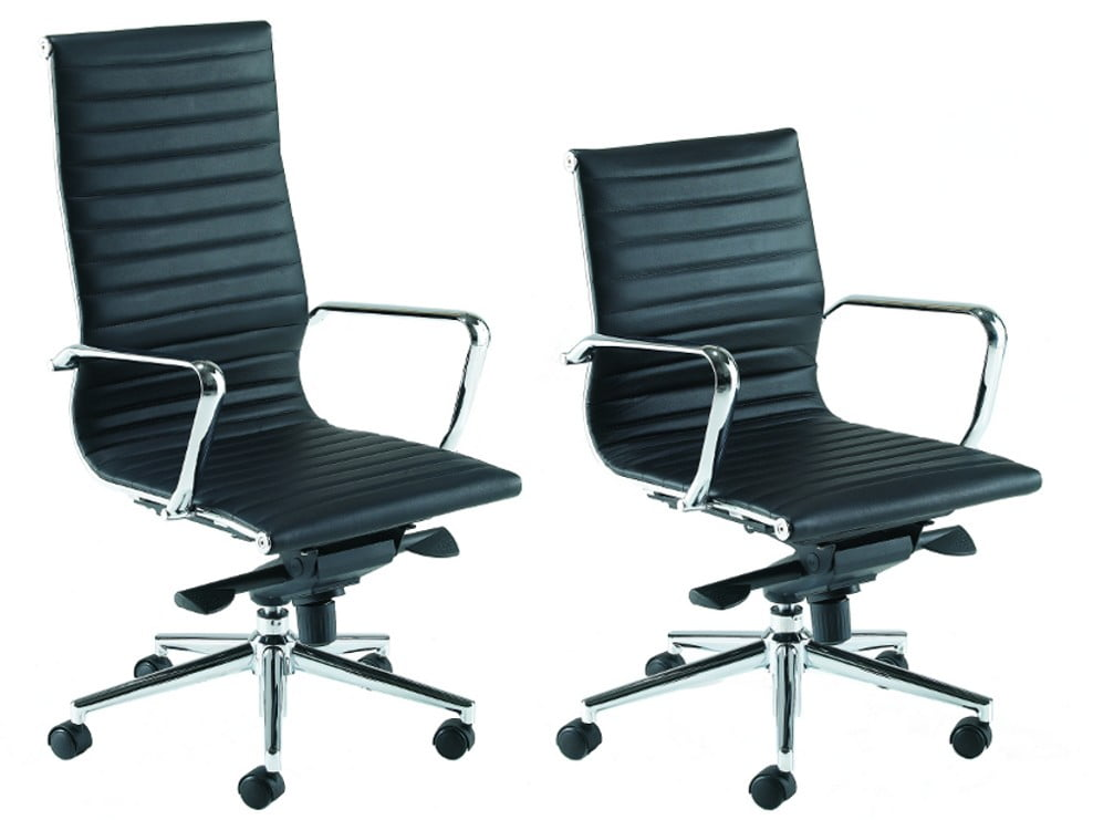 Black boardroom chairs in leather