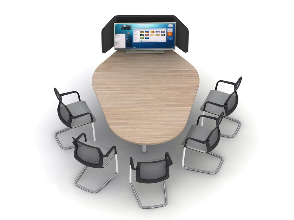 AV display system desk and chairs