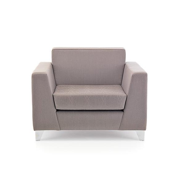 Synergy armchair fully upholstered chrome frame pulse design