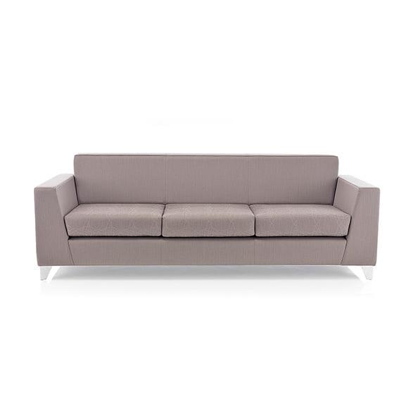synergy fully upholstered three seater sofa chrome frame pulse design