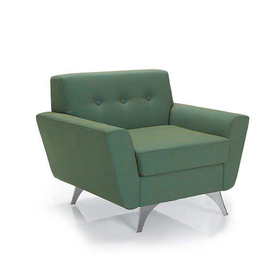 vitality armchair chrome frame button back pulse design