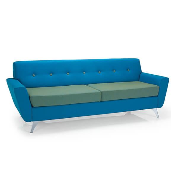 vitality 3 seater sofa chrome frame button back pulse design